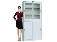 HDY-01 Upper Glass Lower Steel Sliding Cabinet